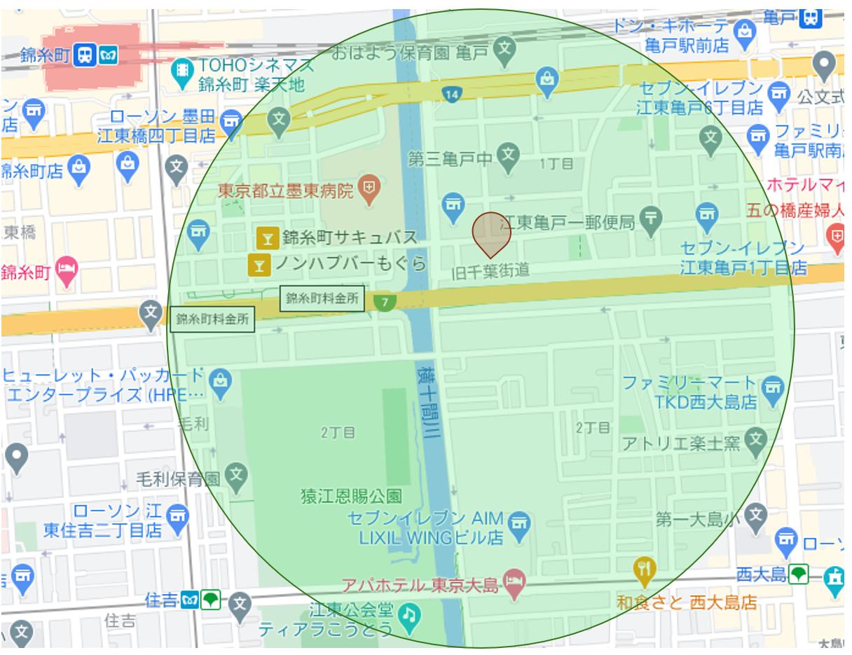 地図に円状マーク